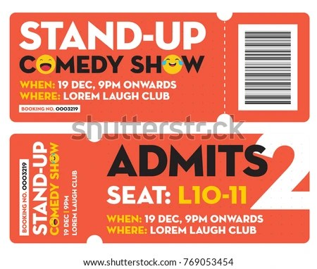 Stand Comedy Show Entry Ticket Modern Stock Vector (Royalty Free
