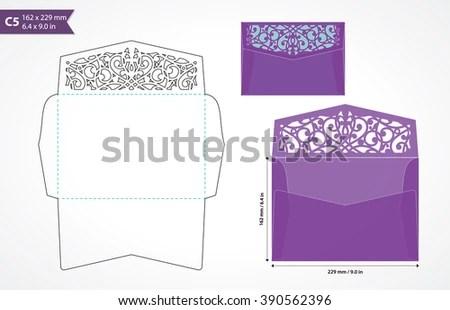Standard C 5 Size Envelope Template Decorative Stock Vector (Royalty