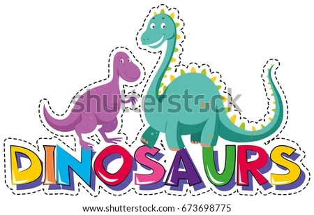 Sticker Template Word Dinosaurs Illustration Stock Vector (Royalty
