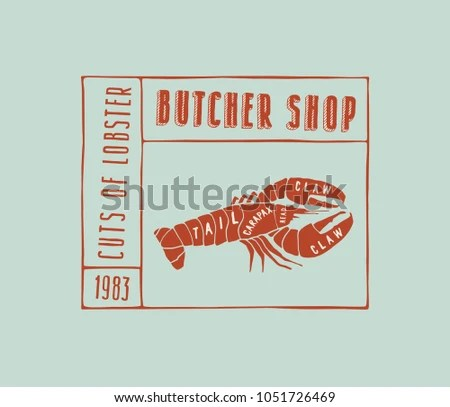 Stock Vector Lobster Cuts Diagram Style Stock Vector (Royalty Free