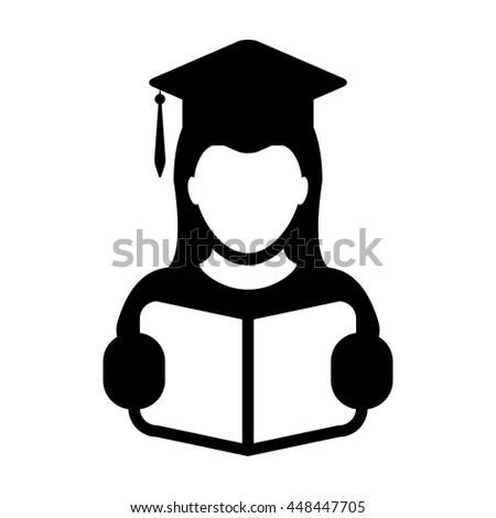 Student Icon Graduation Book Mortar Board Stock Vector (Royalty Free