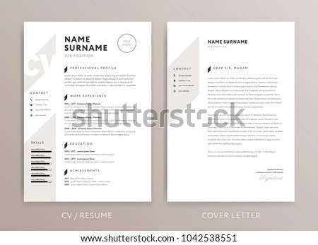 Stylish Curriculum Vitae CV Cover Letter Stock Vector (Royalty Free