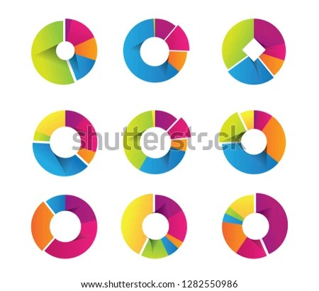 Stylish Pie Chart Diagrams Infographic Template Stock Vector