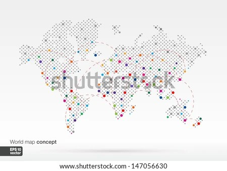 Stylized World Map Concept Biggest Cities Stock Vector (Royalty Free