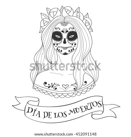 Sugar Skull Woman Day Dead Template Stock Vector (Royalty Free