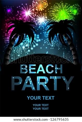 Summer Beach Party Flyer Salute Vector Stock Vector (Royalty Free