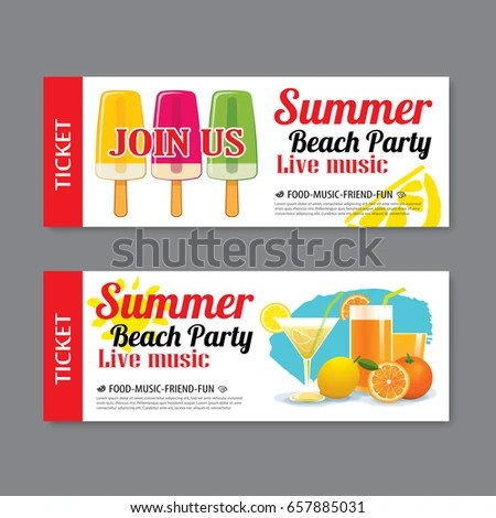 Summer Beach Party Invitation Ticket Template Stock Vector (Royalty