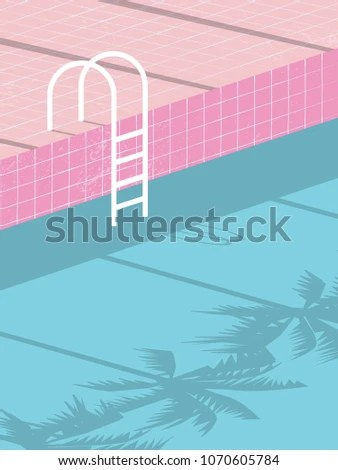 Summer Pool Party Blank Invitation Poster Stock Vector (Royalty Free