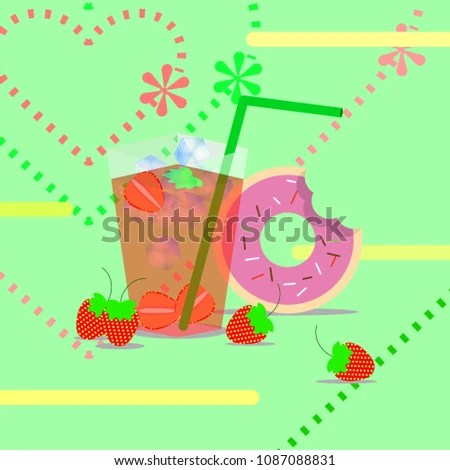 Summer Season Strawberry Juice Donut Template Stock Vector (Royalty