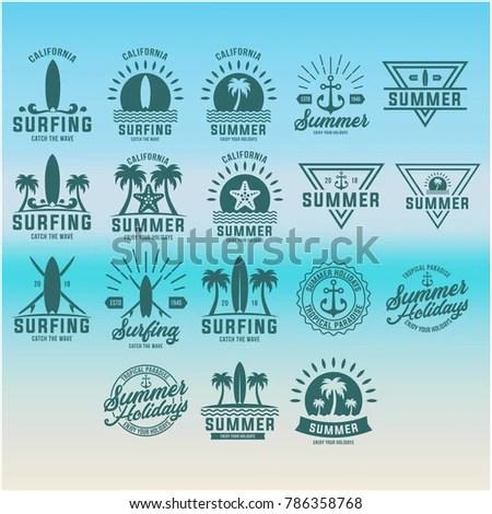 Summer Vacation Beach Sign Design Templates Stock Vector (Royalty