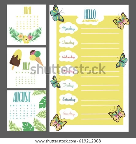 Summer Weekly Daily Planner Template Organizer Stock Vector (Royalty