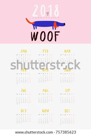 Super Cute Fun Calendar 2018 Year Stock Vector (Royalty Free