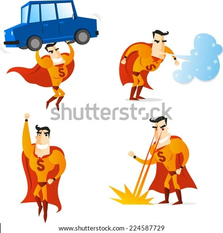 Superhero Using Four Different Powers Four Stock Vector (Royalty