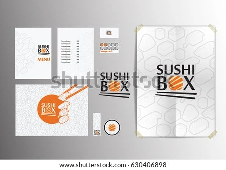 Sushi Box Branding Template Design Stock Vector (Royalty Free