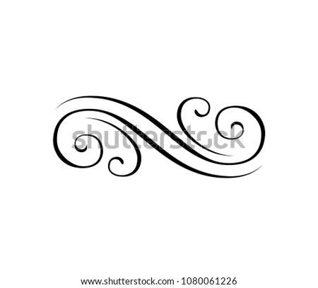 Swirly Line Filigree Ornamental Eleent Engraving Stock Vector