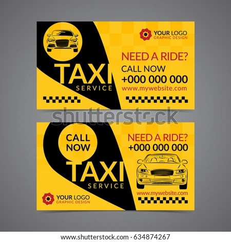 Taxi Pickup Service Business Card Layout Stock Vector (Royalty Free