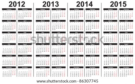 Template Calendar 20122015 Stock Vector (Royalty Free) 86307745