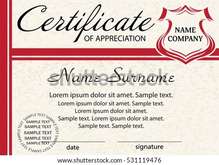 Template Certificate Appreciation Elegant Red Design Stock Vector