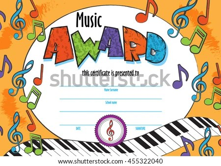 Template Child Music Certificate Be Awarded Stock Vector (Royalty