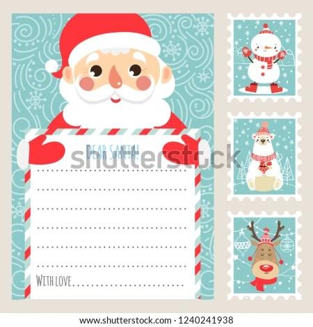 Template Christmas Letter Santa Claus Printable Stock Vector