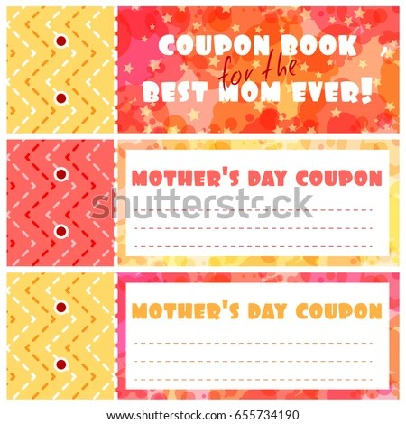 Template Coupons Book Mothers Day Cover Stock Vector (Royalty Free
