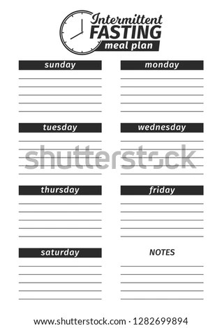 Template Creation Intermittent Fasting Food Menu Stock Vector