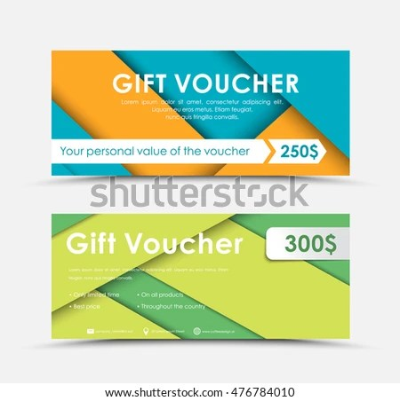Template Gift Vouchers Style Material Design Stock Vector (Royalty