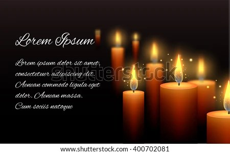 Template Letter Condolence Burning Candle Dark Stock Vector (Royalty