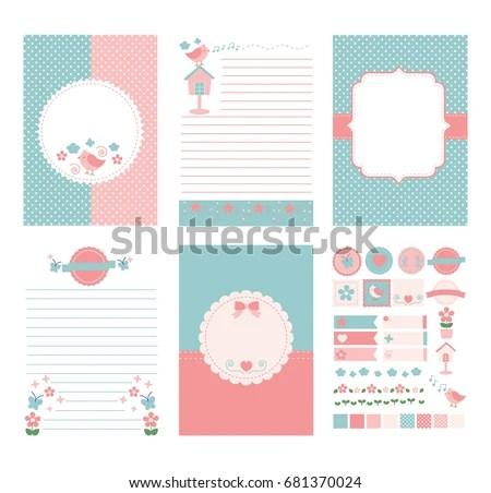 Template Notebook Paper Diary Scrapbook Planner Stock Vector