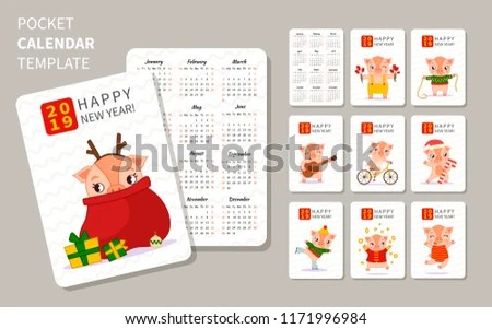 Template Pocket Calendars 2019 Illustration Cute Stock Vector