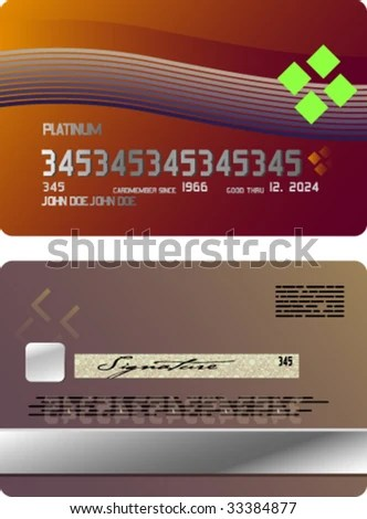 Template Sample Credit Card Front Rear Stock Vector (Royalty Free