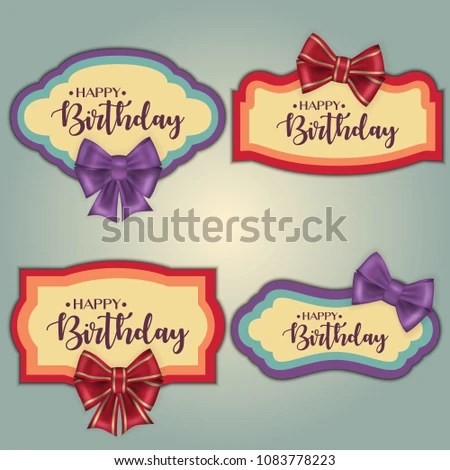 Template Set Colorful Vintage Birthday Tag Stock Vector (Royalty