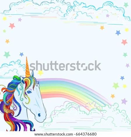 Template Unicorn Rainbow Clouds Stars Text Stock Vector (Royalty