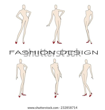 Templates Collection Womans Figure Fashion Design Stock Vector