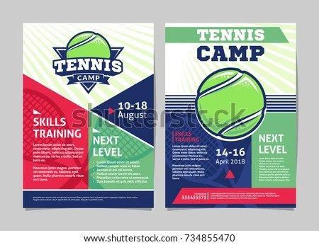 Tennis Camp Posters Flyer Tennis Ball Stock Vector (Royalty Free