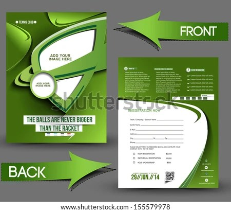 Tennis Competition Front Back Flyer Template Stock Vector (Royalty