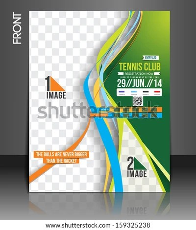 Tennis Competition Front Flyer Template Stock Vector (Royalty Free