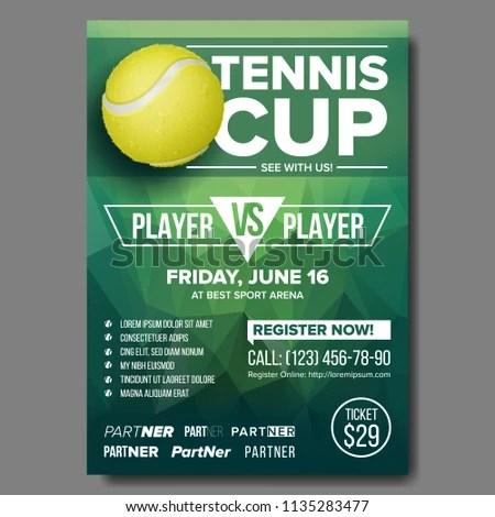 Tennis Poster Vector Tennis Ball Sports Stock Vector (Royalty Free