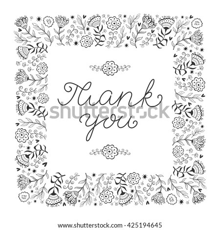 Thank You Card Template Hand Written Stock Vector (Royalty Free