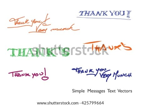 Thank You Thanks Handwritten Words Brush Stock Vector (Royalty Free