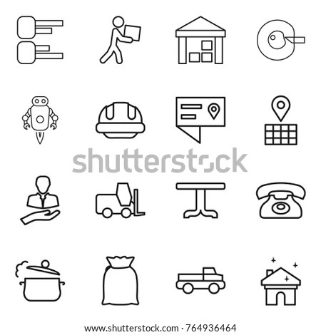 Thin Line Icon Set Diagram Courier Stock Vector (Royalty Free