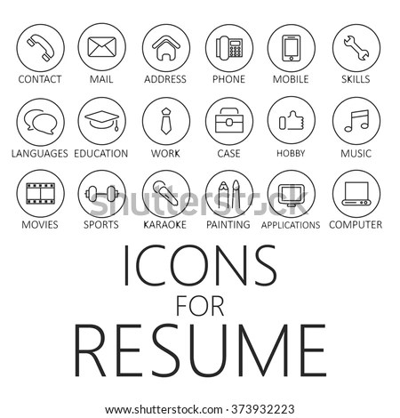 Thin Line Icons Pack CV Resume Stock Vector (Royalty Free) 373932223