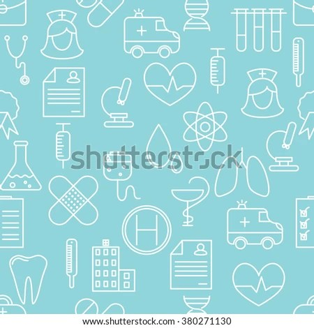 Thin Line Icons Seamless Pattern Medicine Stock Vector (Royalty Free