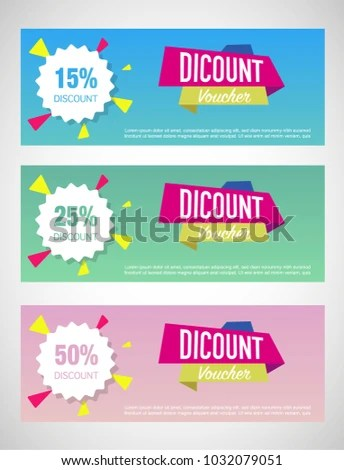 Three Discount Voucher Template Layouts Pastel Stock Vector (Royalty