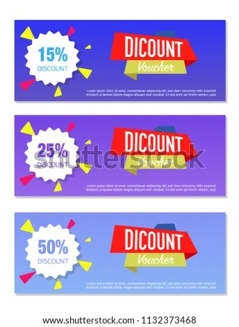 Three Discount Voucher Template Layouts Different Stock Vector