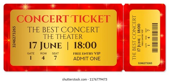 Ticket Template Concert Ticket Stars Tearoff Stock Vector (Royalty