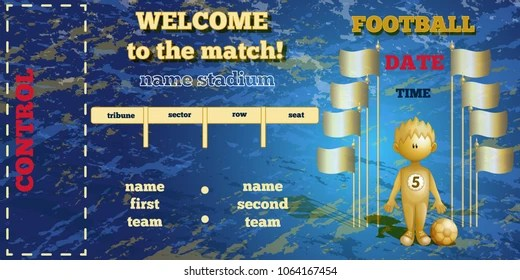 Ticket Template Football Match Rectangular Horizontal Stock Vector