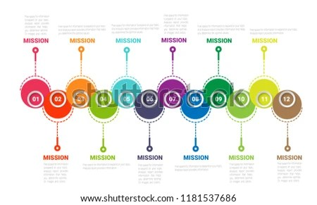 Time Line Timeline Business 12 Months Stock Vector (Royalty Free