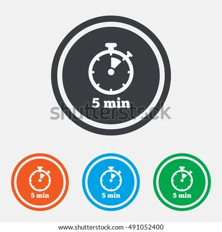 Timer Sign Icon 5 Minutes Stopwatch Stock Vector (Royalty Free