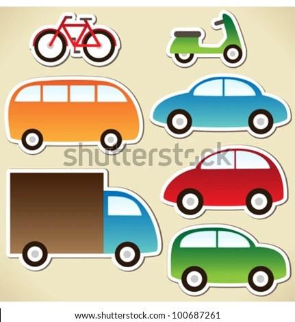 Transport Set Cartoon Cars Lorry Truck Stock Vector (Royalty Free